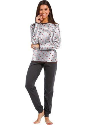 Rebelle pyjama_harmaa housu raitapaita